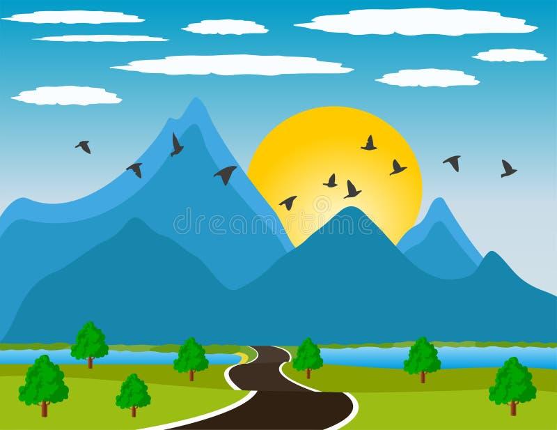Rzeczna dolina przy zmierzchem ilustracji