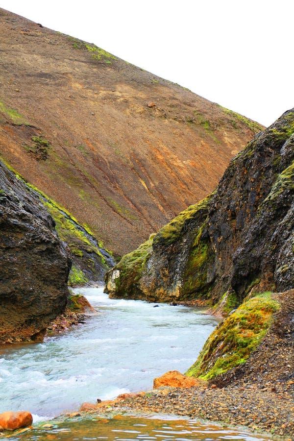 Rzeczna dolina w Kerlingarfjoll zdjęcie royalty free