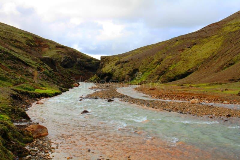 Rzeczna dolina w Kerlingarfjoll obrazy stock