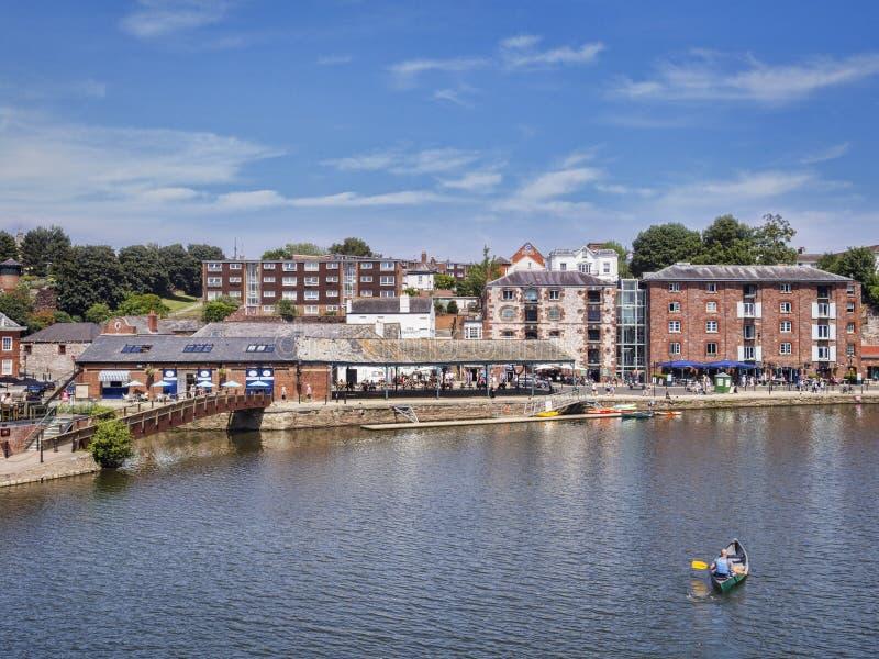 Rzeczni Exe i Exeter Quays zdjęcie stock