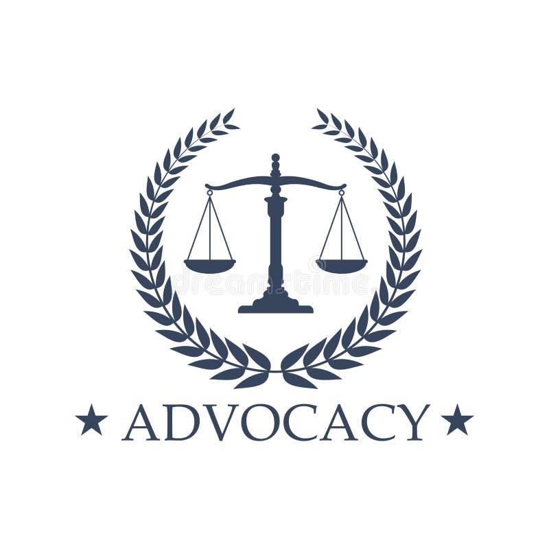 Rzecznictwo Waży sprawiedliwości wektorowa ikona emblemat lub ilustracji