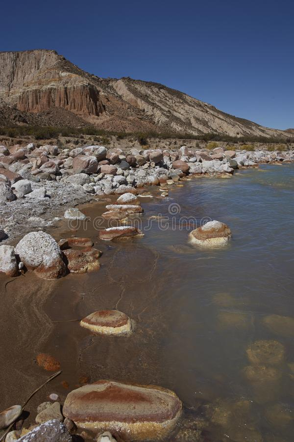 Rzeczny Lluta na Altiplano Chile obraz royalty free