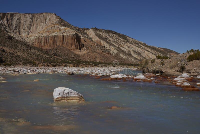 Rzeczny Lluta na Altiplano Chile zdjęcie royalty free