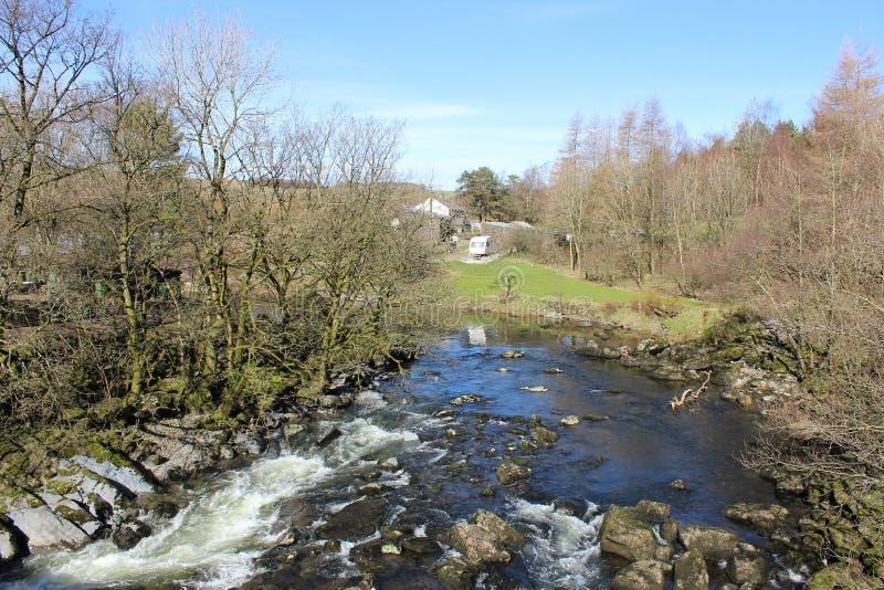 Rzeczny Lune od Lunes mosta, Tebay, Cumbria obrazy royalty free