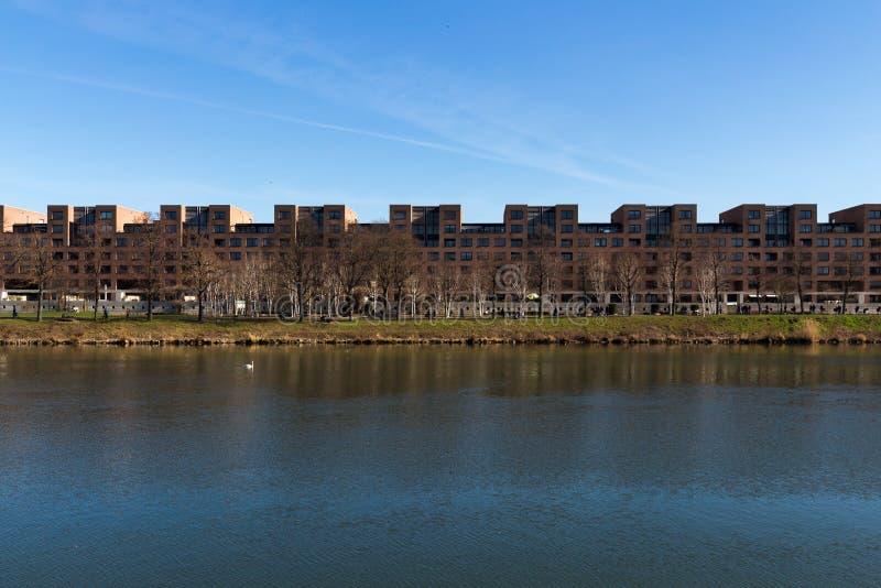 Rzeczny Maas przed linią mieszkania w Maastricht zdjęcie royalty free