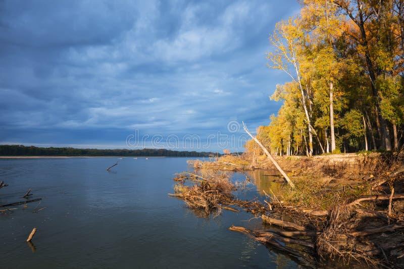 Rzeczny Ob, jesień Zachodni Syberia, Novosibirsk region, Suzun zdjęcie royalty free