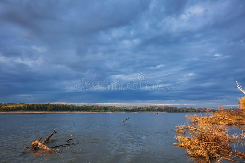 Rzeczny Ob, jesień Zachodni Syberia, Novosibirsk region, Suzun zdjęcia royalty free