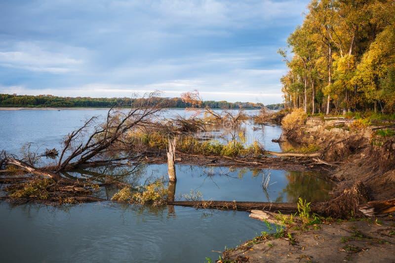 Rzeczny Ob, jesień Zachodni Syberia, Novosibirsk region, Suzun obrazy stock