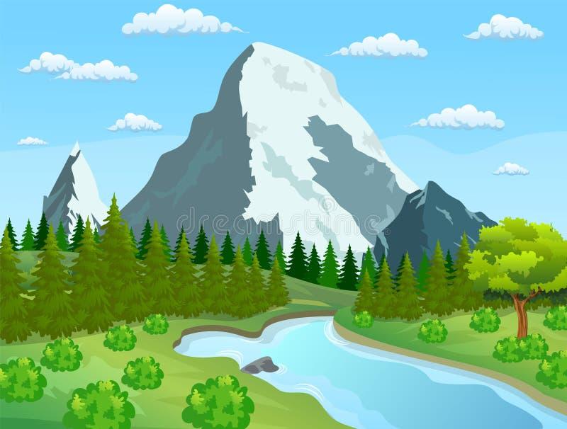 Rzeczny spływanie przez skalistych wzgórzy ilustracji