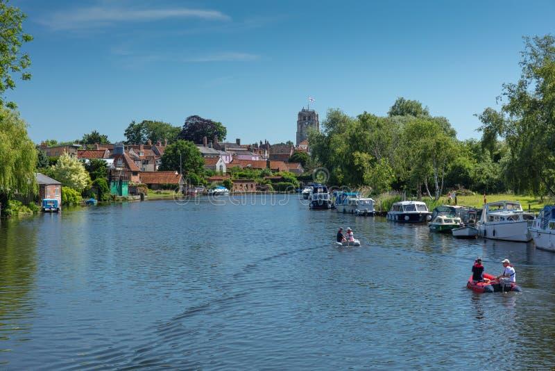 Rzeczny Waveney, Beccles, UK, Czerwiec 2019 fotografia royalty free