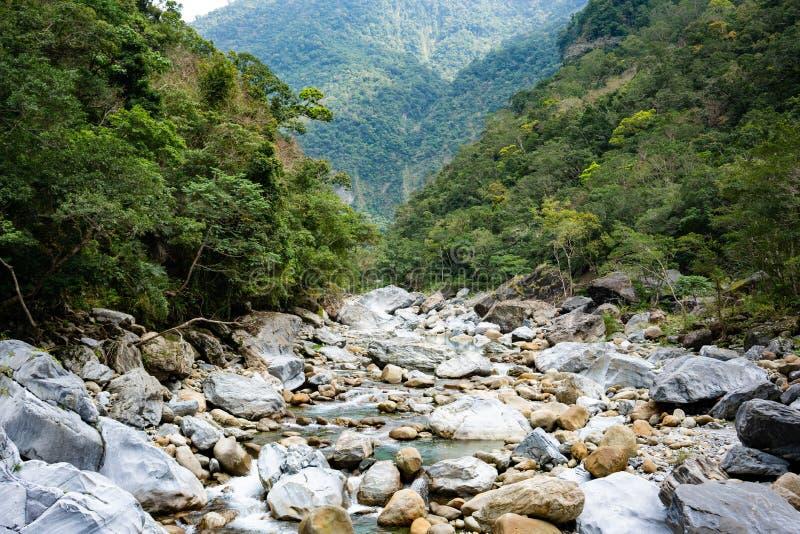 Rzeczny widok wzdłuż Shakadang śladu w taroko wąwozu parku narodowym ja zdjęcie royalty free