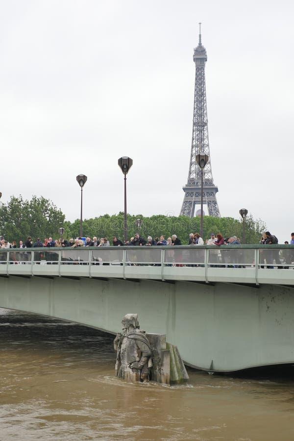 Rzeczny wonton w Paryż jest przy swój najwyższy poziom dla więcej niż 30 rok Zouave statua obrazy stock