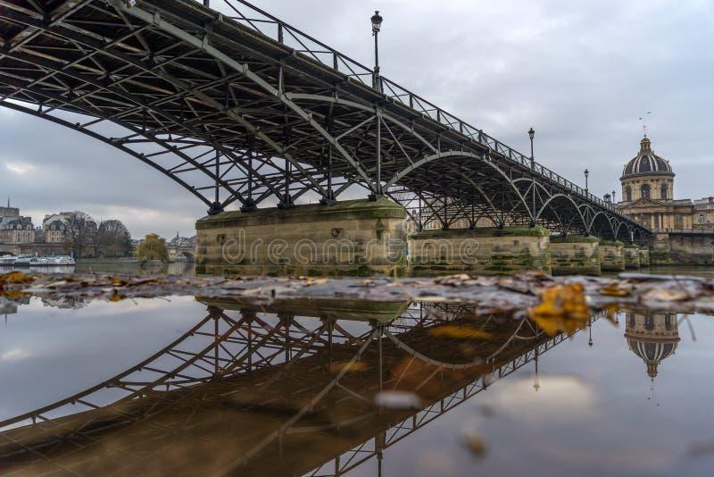 Rzeczny wonton z Pont des sztukami i Institut de Francja w Paryż obraz royalty free