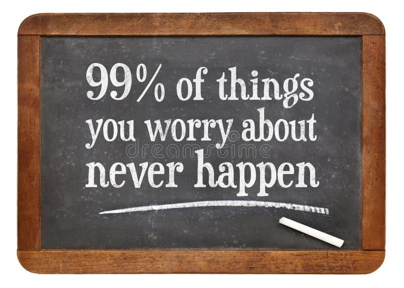 99% rzeczy ty martwisz się wokoło - blackboard pojęcie zdjęcia royalty free