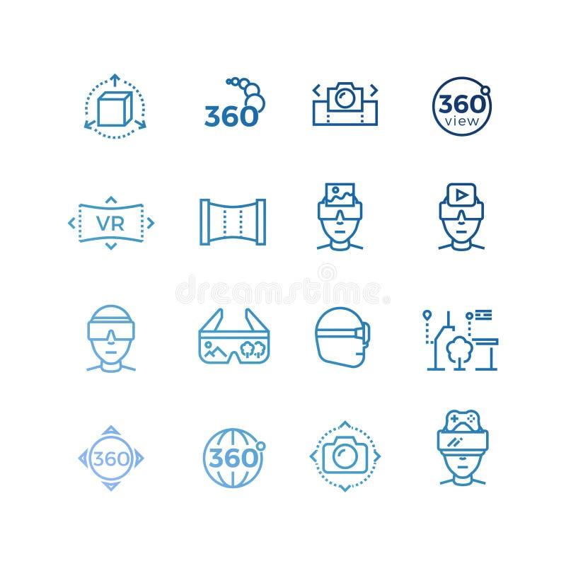 Rzeczywistość wirtualna kreskowe ikony i przyrząd kolekcja ilustracji