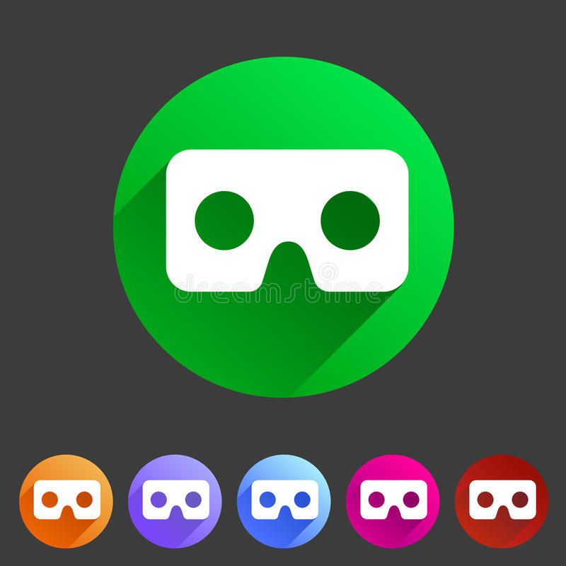 Rzeczywistość wirtualna gogle szkieł kartonowej ikony sieci znaka symbolu loga płaska etykietka ilustracji