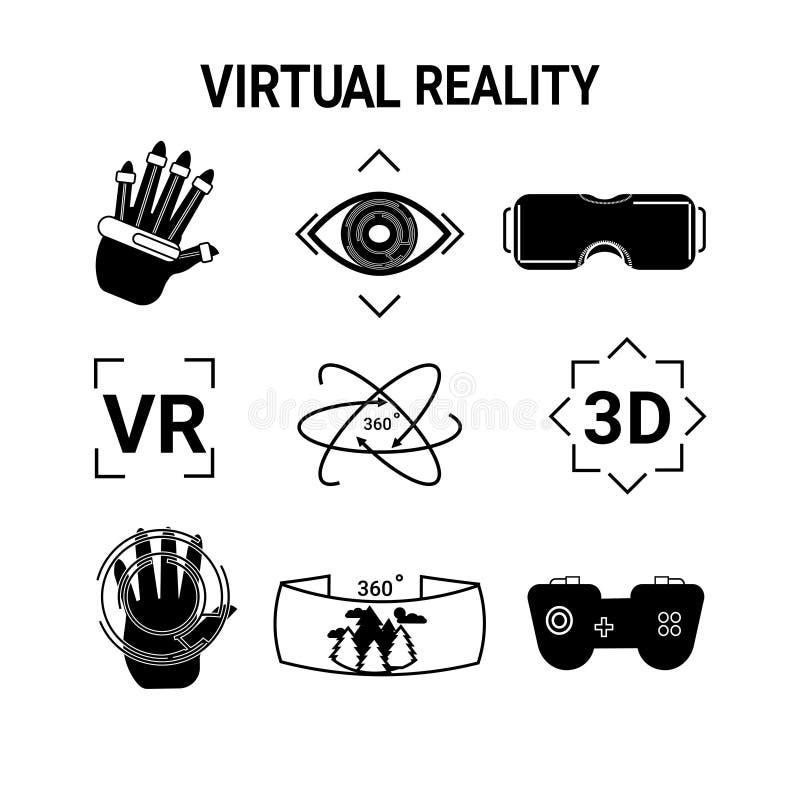 Rzeczywistość Wirtualna ikony Ustawiają szkła Odizolowywających Na Białego tła hazardu technologii Nowożytnym pojęciu gogle Lub ilustracji
