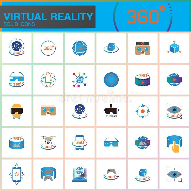 Rzeczywistość wirtualna kolorowe stałe ikony ustawiać Innowacj technologie, AR szkła, Wspinający się pokaz, VR hazardu przyrząd m ilustracji