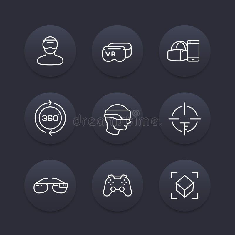 Rzeczywistość Wirtualna Kreskowe ikony ustawiać ilustracja wektor