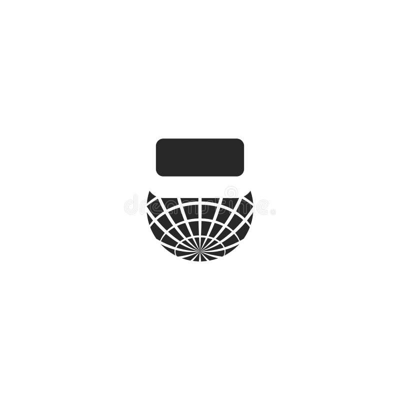 Rzeczywistość wirtualna logo VR globalni futurystyczni szkła gadżety, pojęcie projekta szablon Graficzna cyberprzestrzeni technol royalty ilustracja