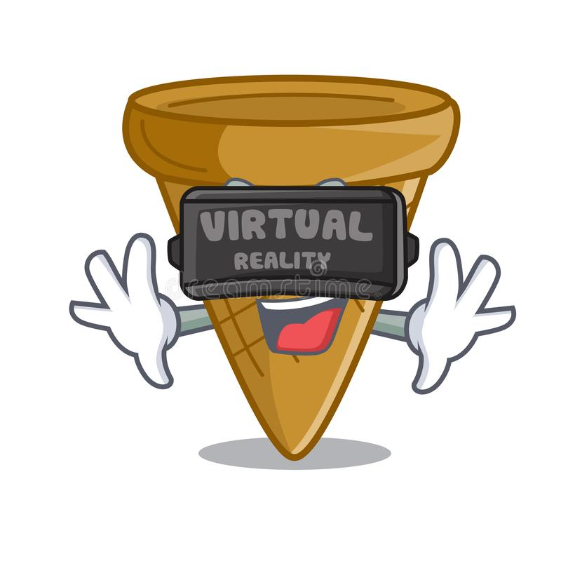 Rzeczywistość wirtualna opłatka pusty rożek dla lody charakteru ilustracja wektor