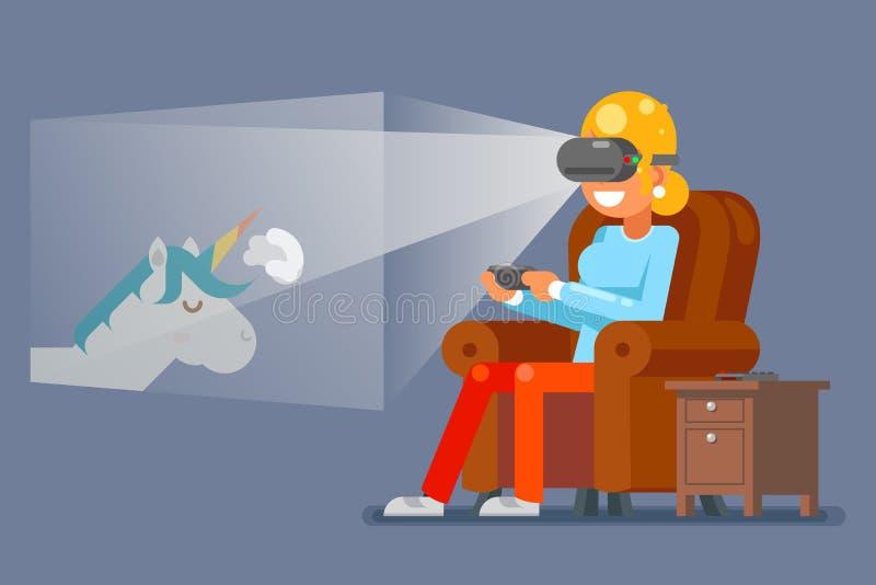 Rzeczywistość Wirtualna szkieł Gamer młoda dziewczyna Bawić się grę Siedzi karła postać z kreskówki projekta wektoru Płaską ilust ilustracja wektor