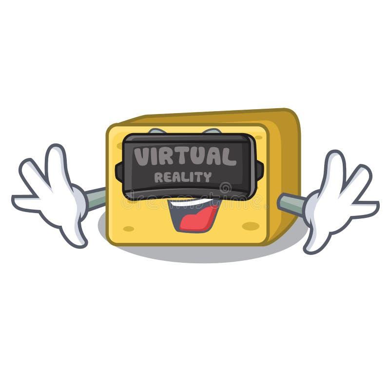 Rzeczywistości wirtualnej gouda ser składa kreskówkę ilustracja wektor