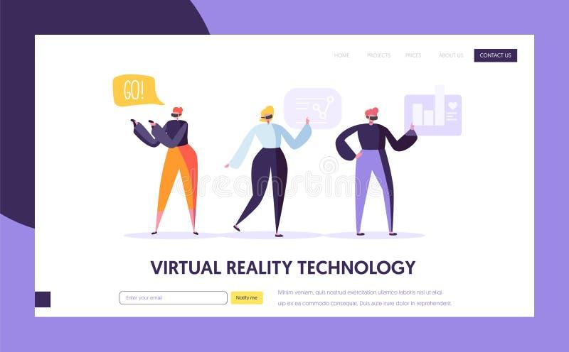 Rzeczywistości Wirtualnej lądowania strona zwiększająca rzeczywistość royalty ilustracja