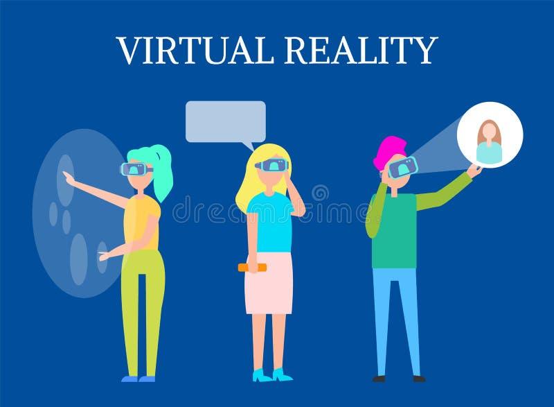 Rzeczywistości Wirtualnej Nowożytna Interaktywna technologia ilustracja wektor