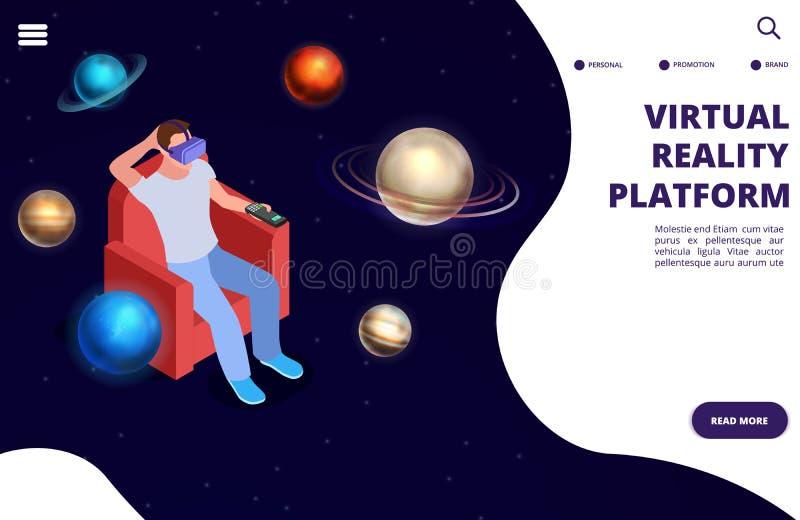 Rzeczywistości wirtualnej podróży kosmicznej isometric wektorowy pojęcie Przestrzeń zwiększająca rzeczywistości ilustracja ilustracja wektor