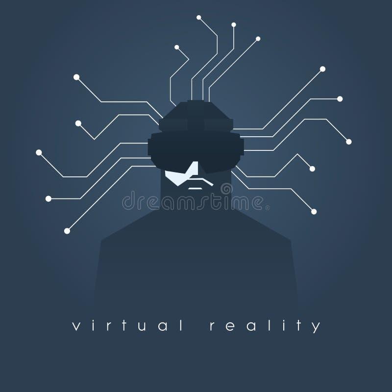 Rzeczywistości wirtualnej pojęcia ilustracja z mężczyzna i słuchawki szkłami Ciemny tło, linie jako symbol internet ilustracji