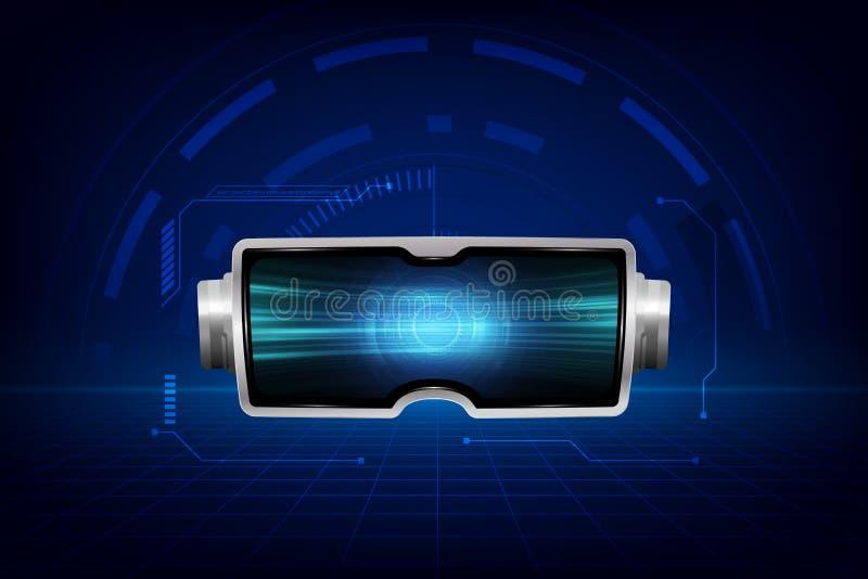 Rzeczywistości wirtualnej słuchawki abstrac vr świat z bstract unaocznienia tłem, technologii grze i filmu pojęciem, wektor ilustracji
