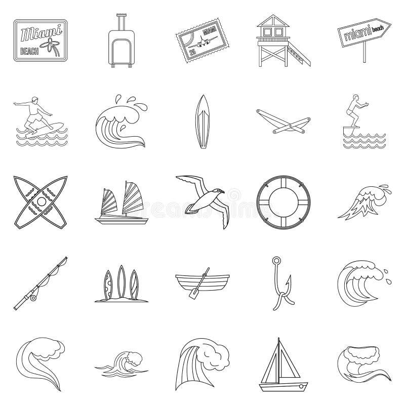 Rzek spoczynkowe ikony ustawiać, konturu styl royalty ilustracja