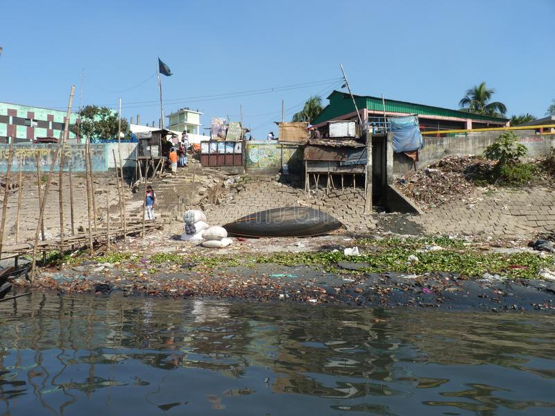Rzeka burigonga Dhaka Bangladesh zdjęcie royalty free