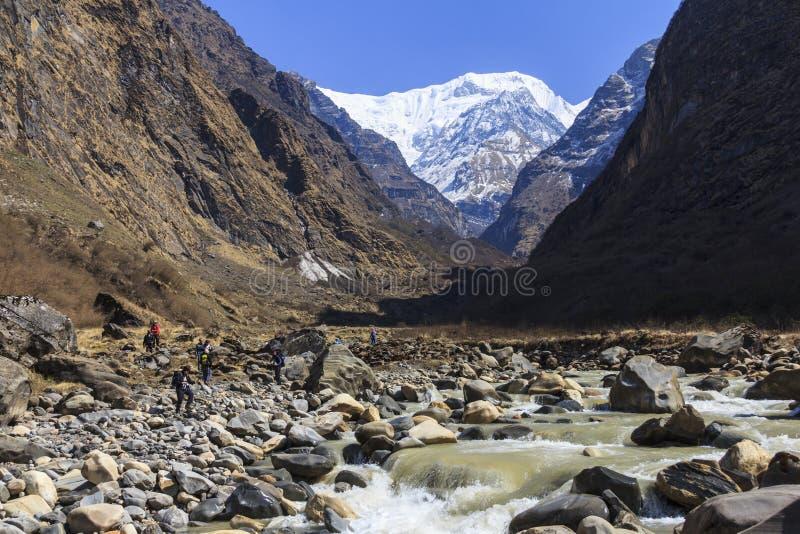 Rzeka i himalaje halna dolina Annapurna basecamp trekking ślad, Nepal obrazy royalty free