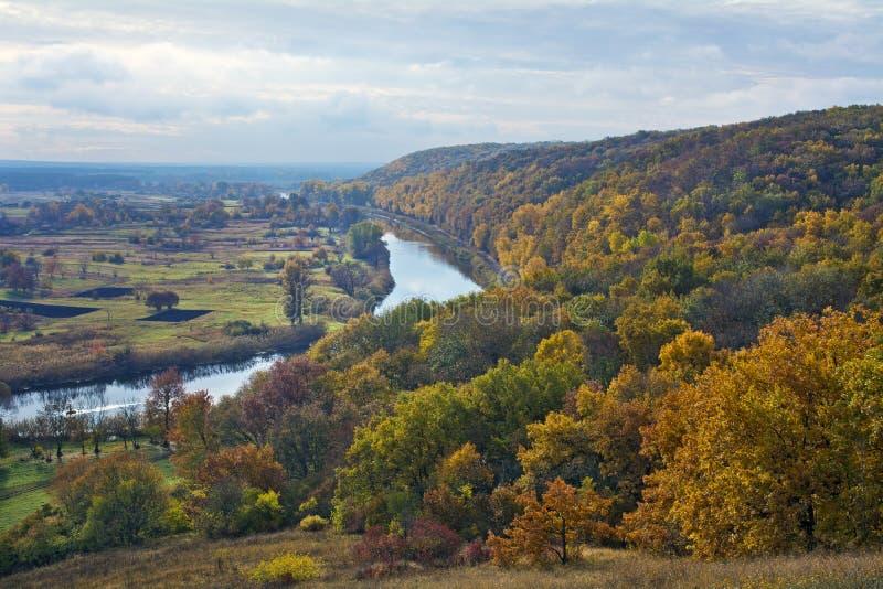 Rzeka i las w spadku ośmiornica Aidar rzeka w Ukraina zdjęcia royalty free