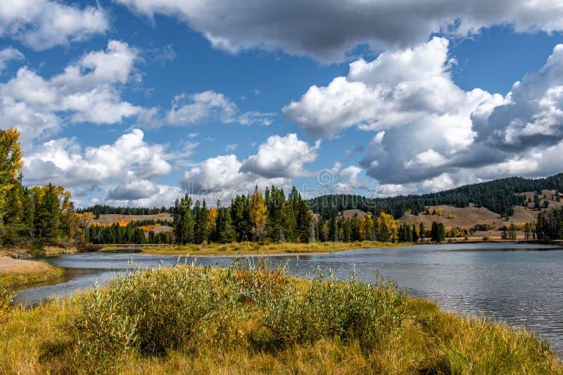 rzeka jesienią wąż zdjęcie stock