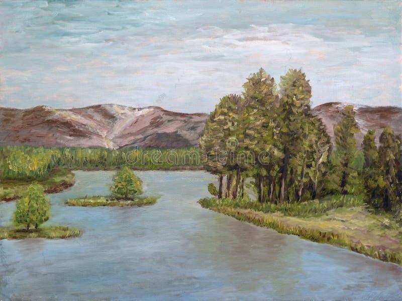 Rzeka krajobraz w olejach ilustracja wektor