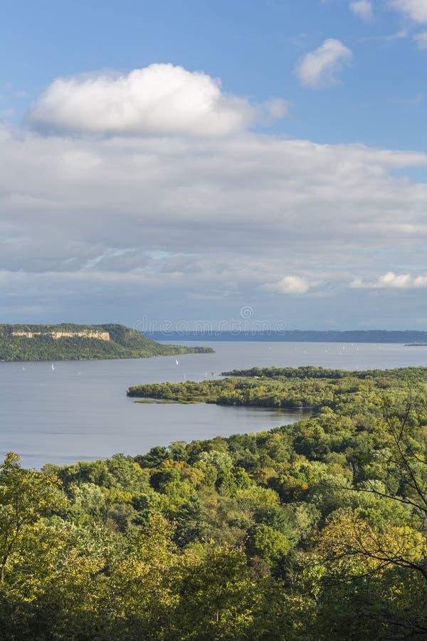 Rzeka Mississippi Jeziorny Pepina Sceniczny fotografia stock