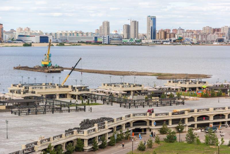 Rzeka, quay i krajobraz Kazan miasto, zdjęcia royalty free