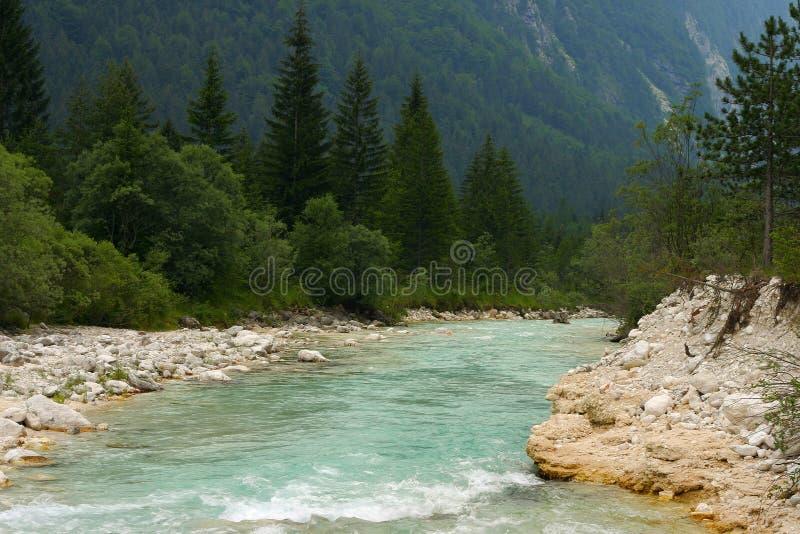 Rzeka Soca Spada Obraz Royalty Free