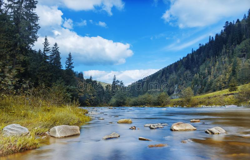 Rzeka w górach z skałami, żółta trawa na brzeg rzekim Jesieni góry krajobraz, niebo, chmurnieją Pomysł dla plenerowych aktywność, obraz stock