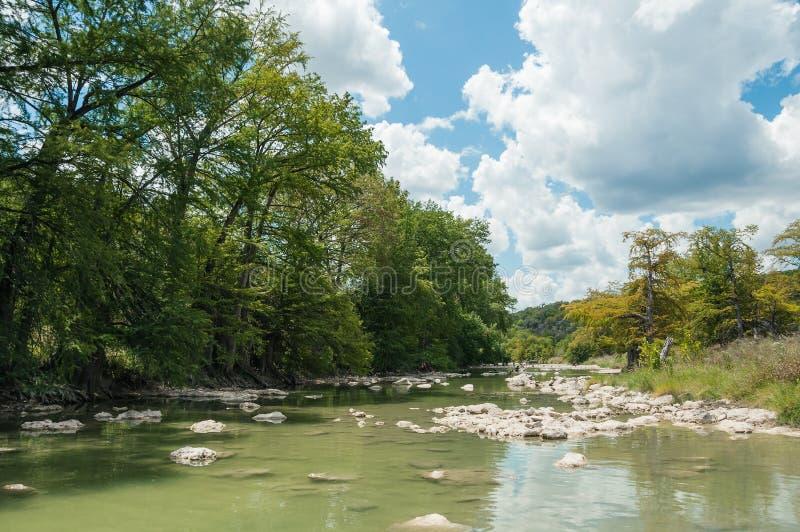rzeka z cyprysowi drzewa alongshore w Pedernales Spada park narodowy w końcówce lato Teksas, fotografia royalty free