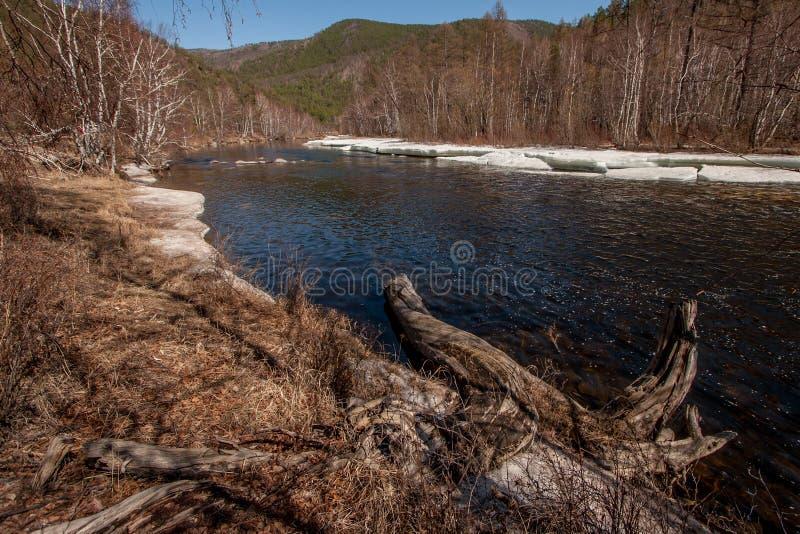 Rzeka z lodem w wiośnie wśród wzgórzy fotografia royalty free