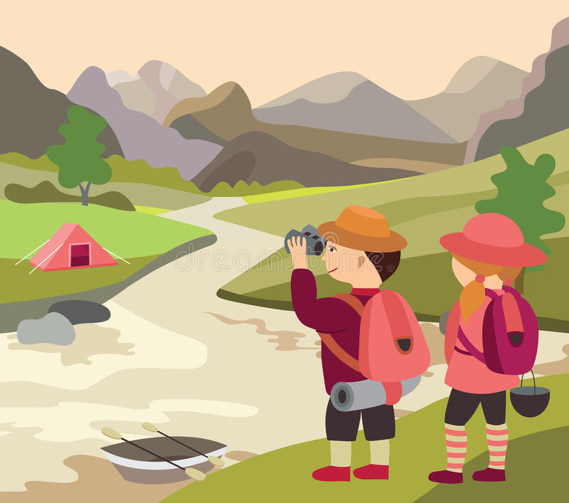 rzeki, łąkowego i pięknego krajobraz, royalty ilustracja