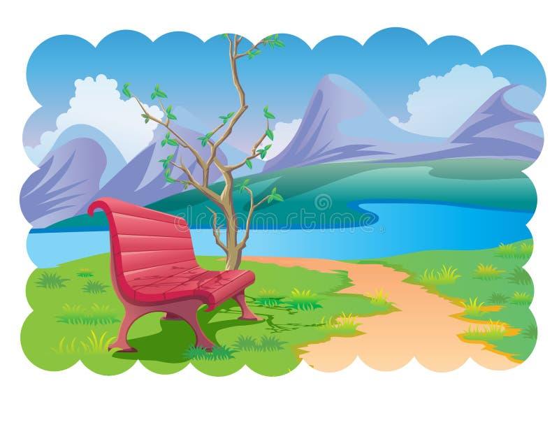 Download Rzeki parkowa strona ilustracja wektor. Obraz złożonej z trawy - 24870978