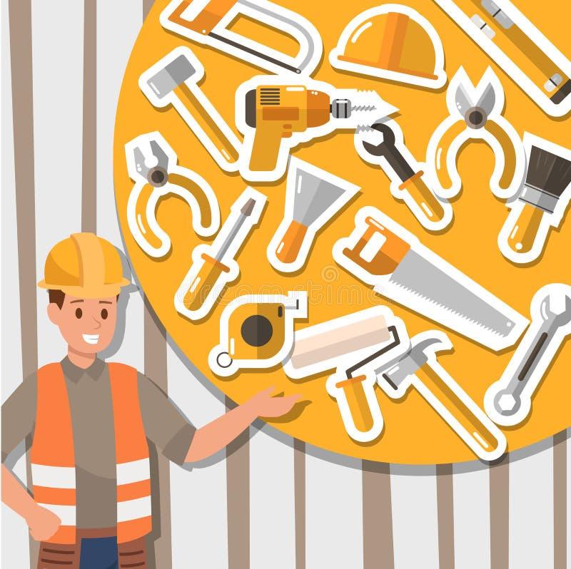 Rzemieślnik budowy i działania narzędzia Ikona projekt ilustracji