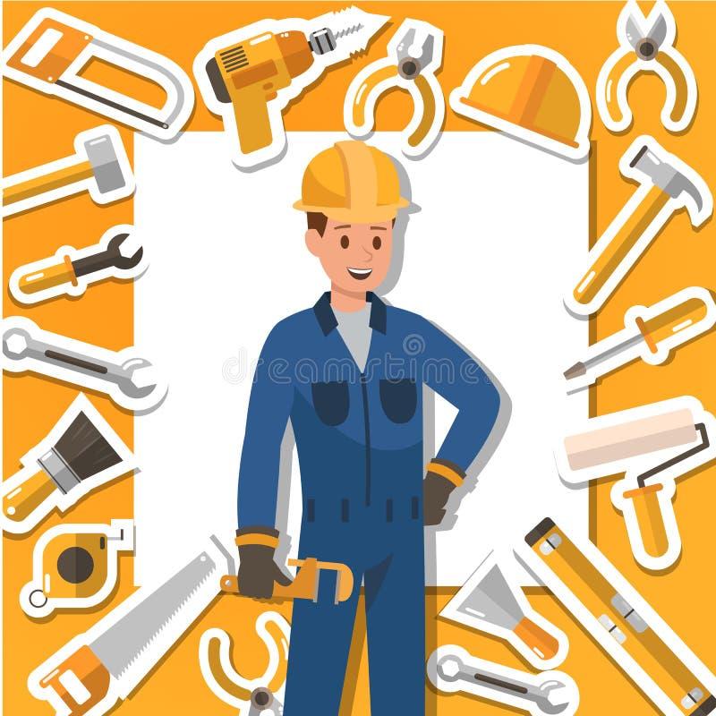 Rzemieślnik budowy i działania narzędzia Ikona projekt no2 royalty ilustracja