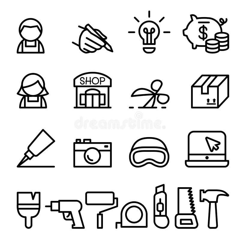 Rzemieślnik, DIY produktu projekta ikona ustawiająca w cienkiej linii ilustracja wektor