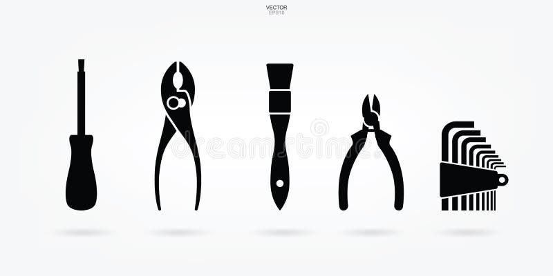 Rzemieślnik ikony narzędziowy set Technika narzędzia symbol i znak wektor royalty ilustracja